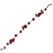 Splitter red coral beads bracelet bunch Ladies lobster clasp nickel free 18cm 20cm