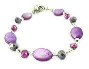 Glitter pearl bracelet purple beads oval slices carabiner nickel free 18cm 20cm