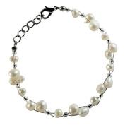 Pearl bracelet ladies white cultured pearl jewellery wire carabiner 18 cm - 20 cm nickel free