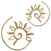 Spirals earrings Brass hollow shafts drops antique golden Tribal Piercing