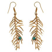 Earrings leaf branches turquoise stone antique brass golden Tribal Earrings