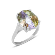 CORTINA - Big Lucky Stone in White Gold Ring - Claw Set