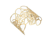 G & H Gold Plated Sterling Silver Medium Wide Cut Out Cuff Bracelet