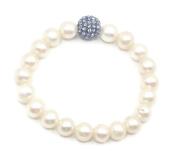 Freshwater White Pearl & Blue Disco Ball Elastic Bracelet