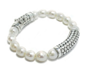Rounded .925 Sterling Silver with Stunning Freshwater Pearls Bracelet