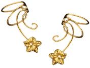Plumeria Flower Pair Gold On Sterling Non-pierced Wave Ear Cuff Earrings