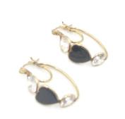 Cubic Zirconia White & Onyx Heart Earrings,14K Yellow Gold Hoop