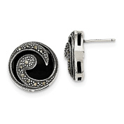 Solid .925 Sterling Silver Onyx & Marcasite Post Earrings 18x17mm