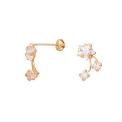 CZ 14K GOLD KIDS STAR SCREW BACK EARRINGS