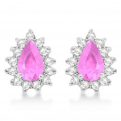 1.10ctw Pink Sapphire and Diamond Accented Teardrop Earrings 14k White Gold