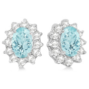 2.05ctw Kate Middleton Fashion Natural Oval-Cut Aquamarine and Diamond Accented Stud Earrings 14k White Gold