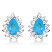 1.10ctw Blue Topaz and Diamond Accented Teardrop Earrings 14k White Gold