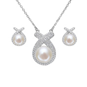 EleQueen 925 Sterling Silver CZ Cream Freshwater Cultured Pearl Ribbon Bridal Necklace Stud Earrings Set Clear
