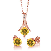 2.15 Ct Yellow Citrine White Diamond 18K Rose Gold Plated Silver Jewellery Set