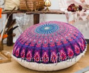 """Bohemian Yoga Décor Floor Cushion Cover - 30"""" Round Floor Pillow Pouffe Cover - Colourful Pink 100% Hand Printed Organic Cotton by Mandala Life ART"""