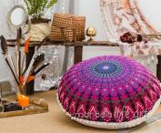 "Bohemian Decor Floor Cushion Cover - 30"" Round Floor Pillow Pouffe Cover - Colourful Purple 100% Hand Printed Organic Cotton by Mandala Life ART"