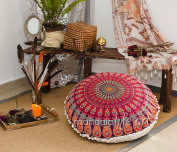 """Bohemian Decor Floor Cushion Cover - 30"""" Round Floor Pillow Pouffe Cover - Colourful Red 100% Hand Printed Organic Cotton by Mandala Life ART"""