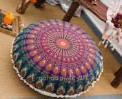 "Bohemian Décor Floor Cushion Cover - 30"" Round Floor Pillow Pouffe Cover - Colourful Orange 100% Hand Printed Organic Cotton by Mandala Life ART"