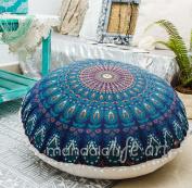 "Bohemian Decor Floor Cushion Cover - 30"" Round Floor Pillow Pouffe Cover - Colourful Blue 100% Hand Printed Organic Cotton by Mandala Life ART"