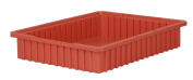 Akro-Mils 33224 Akro-Grid Slotted Divider Plastic Tote Box, 22-3/8 -Inch Length by 44cm Width by 10cm Height, Case of 6, Red