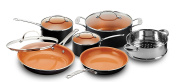 Gotham Steel 1457 10 Piece Kitchen Nonstick Frying Pan and Cookware Set, Black/Brown
