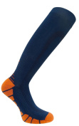 FDX Plus Size/Big & Tall Blue with Orange Cushioned Compression Socks
