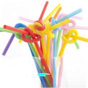 Ewandastore Drinking Straws Set- Colourful Long Flexible Bendable Party Soda Smoothie Disposable Plastic Drinking Straws