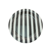 Youmewell Disposable Black Striped Round Paper Party Plates 23cm 24 Count