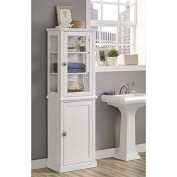 Linon Scarsdale Tall Linen Cabinet in White