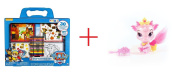 Paw Patrol On-The-Go Activities Set and Disney Princess Whisker Haven Tales Palace Pets 6.4cm Furry Tails Friends - Ash the Dragon - Bundle