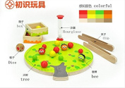 Funny educational wooden toy montessori colourful fruit tree clip balls hand-eye coordination toy 1pc