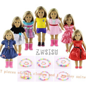 ZWSISU Children gift 7 Outfits American Girl Doll Clothes +1 jewellery suite Fits American Girl Doll, Our Generation, Journey Girls Dolls