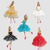 Lanlan 5pcs Costume Clothing Ballet Skirt Cake Dress Made to Fit Barbie for Barbie Doll Clothes Shoes Doll House Accessories Kids Gift