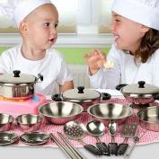 Fashionclubs 20pcs Children Metal Pots and Pans Pretend Play Kitchen Cookware Set Toys