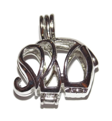 Elephant Bead Cage - Old School Geekery TM Brand Jewellery Making Supplies - Hollow Silver Plated Bead Cage Pendant - Add your own Pearls, Stones, Rock to Cage, or add Perfume and Essential Oils to Create a Scent Diffusing Necklace