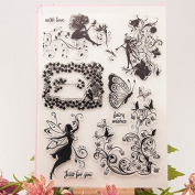 DadaCrafts(TM) 15cm by 20cm Fairy DIY Clear Stamps For Card Making Scrapbooking and 1 Sheet Seal Stickers