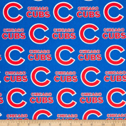 MLB Cotton Broadcloth Chicago Cubs Blue/Red Fabric By The Yard