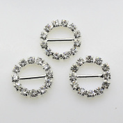 50pcs 16mm Silver Round shaped Rhinestone Buckle Slider for Wedding Invitation Letter