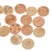 Souarts Mixed Natural Colour Round Shape 2 Holes Wooden Buttons Flower Life Tree Printed Pack of 100pcs