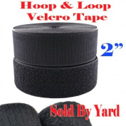 5.1cm Width Sold By Yard Black Sew on Hook & Loop - Black Premium Grade Non-adhesive Sew-on Style Sold Includes Hook and Loop Both Side