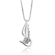 CoolJewelry Sterling Silver Angel Wing Pendant Necklace, 46cm