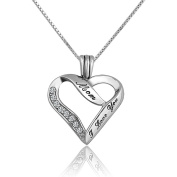 CoolJewelry Sterling Silver Heart I Love You Mom Pendant Necklace 46cm