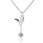 CoolJewelry Sterling Silver Love Angel Wings Pendant Necklace 46cm