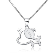 CoolJewelry Sterling Silver Cute Puppy Dog Pendant Necklace, 46cm