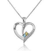 CoolJewelry Sterling Silver Mother Daughter Heart Shaped Pendant Necklace