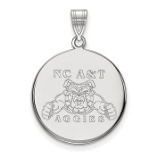 925 Sterling Silver Rhodium-plated Laser-cut North Carolina A & T State University Large Disc Pendant