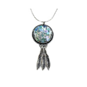 Ancient Roman Glass Necklace with Feather Drops Sterling Silver