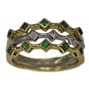 14K Yellow and White Gold Emerald and Diamond Ring Three Band Set