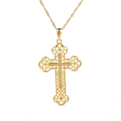 24K Gold Plated Classical Catholic Multilayer Celtic Cross Pendant Necklace Jewellery