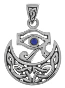 Jewellery Trends Sterling Silver Eye of Horus Celtic Moon Pendant with Synthetic Lapis